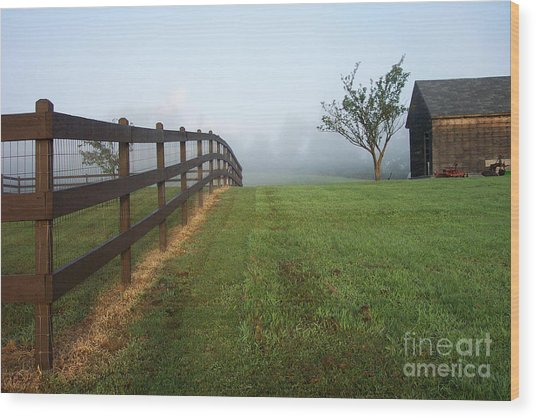 Morning On The Farm Wood Print