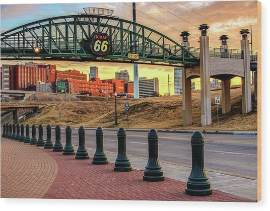 Rt 66 Sunrise - Tulsa Oklahoma's Route 66 Sign Wood Print