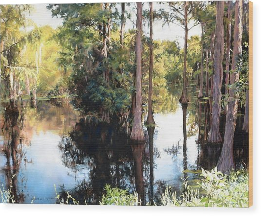 Morning On The River Wood Print by Marion  Hylton