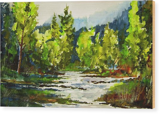 Morning On The River Wood Print