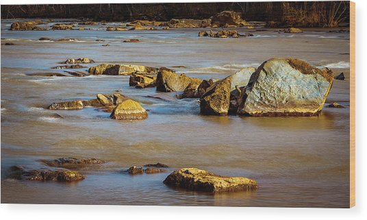 Morning On The Rocky River Wood Print