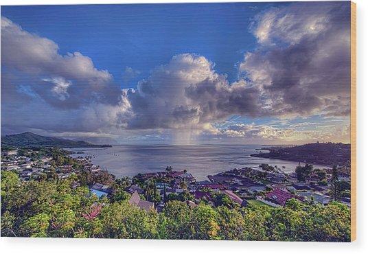 Morning Rain In Kaneohe Bay Wood Print