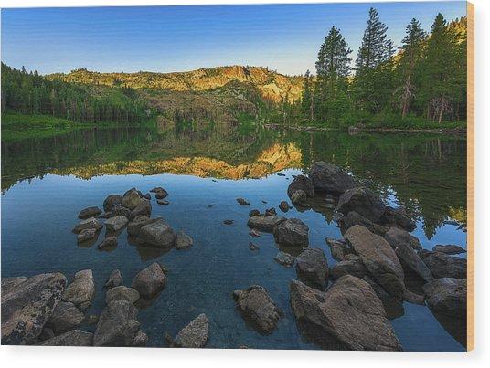 Morning Reflection On Castle Lake Wood Print