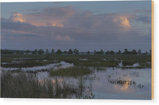 Morning Reflections Over The Wetlands Wood Print