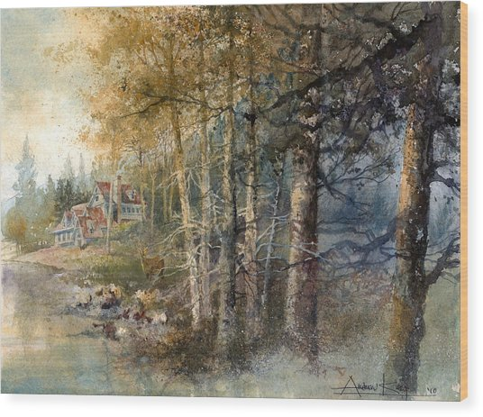 Wood Print featuring the painting Morning River by Andrew King