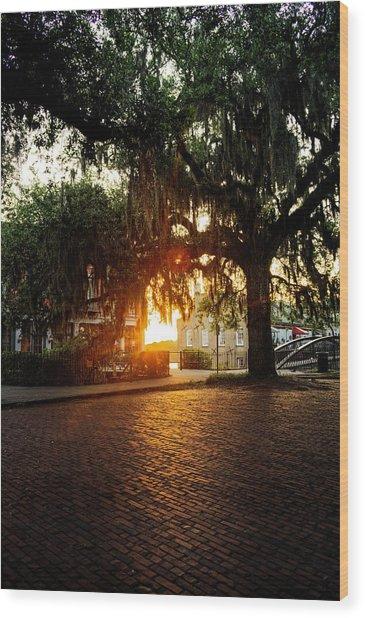 Morning Sun On The Bricks Of Savannah Wood Print