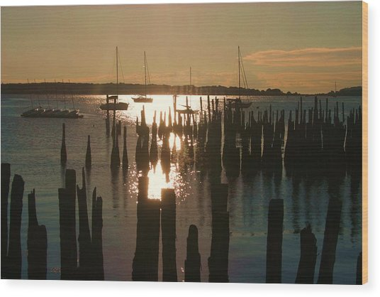 Morning Sunrise Over Bay. Wood Print by Dennis Curry