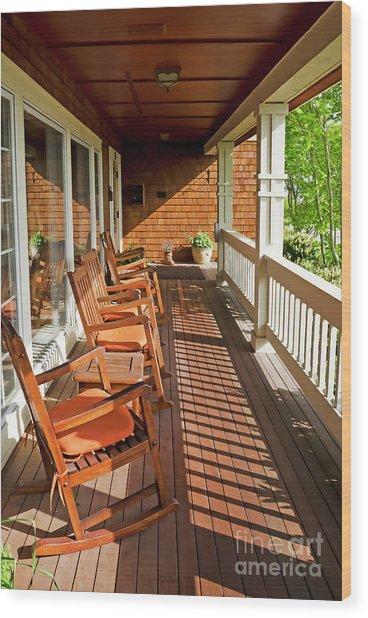 Morning Sunshine On The Porch Wood Print