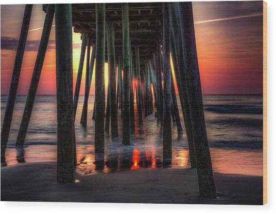 Morning Under The Pier Wood Print