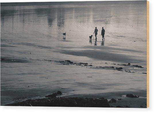 Morning Walk, Gooch's Beach, Kennebunk, Maine Wood Print