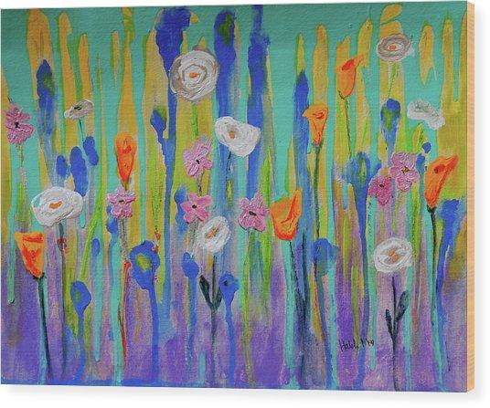 Morning Wildflowers Wood Print