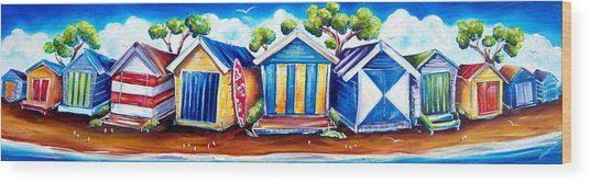 Mornington Beach Huts Wood Print