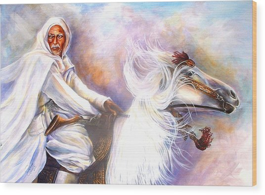 Moroccan Man Riding Arabian Stallion  Wood Print by Patricia Rachidi