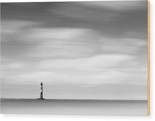 Morris Island Lighthouse Bw Wood Print