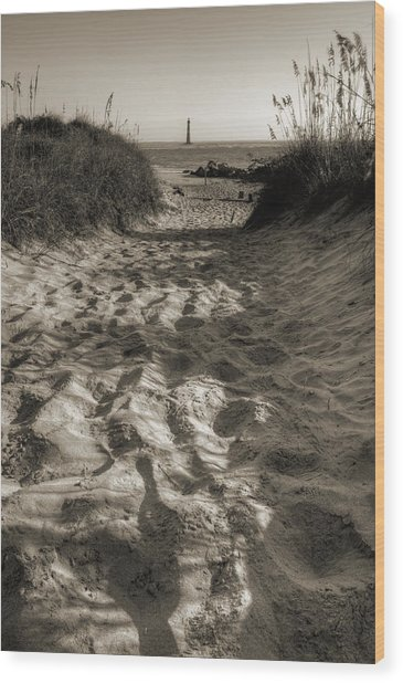 Morris Island Lighthouse Pathway Wood Print