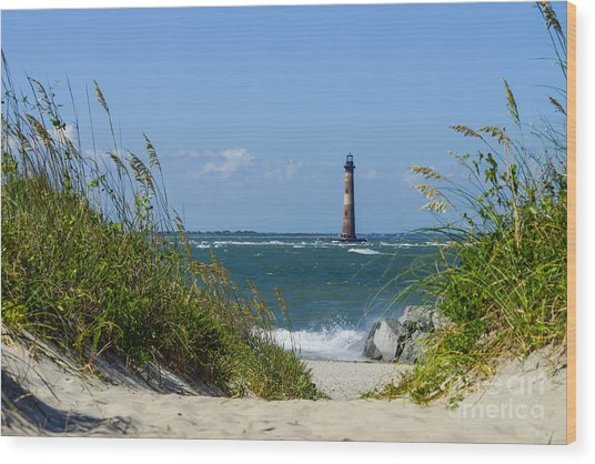 Morris Island Lighthouse Walkway Wood Print