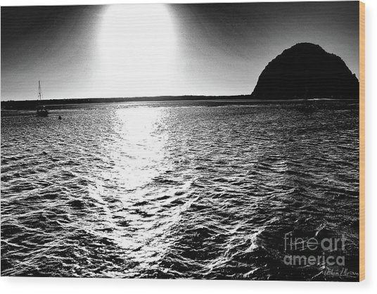 Morro Rock, Black And White Wood Print