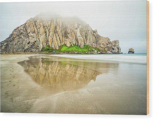 Morro Rock Reflection Wood Print by Joseph S Giacalone