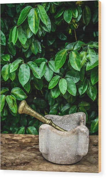 Mortar And Pestle Wood Print