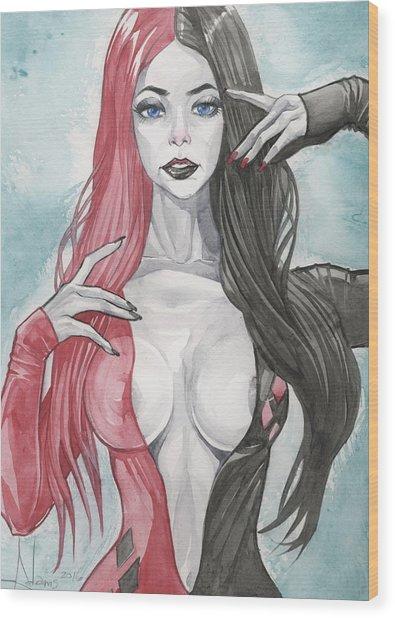 Morticia Harley Mashup Wood Print