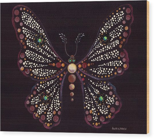 Mosaic Butterfly Wood Print by Anita Carden
