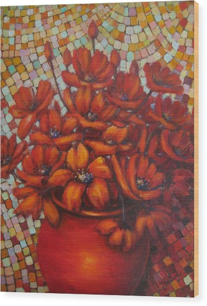 Mosaic Flowers Wood Print