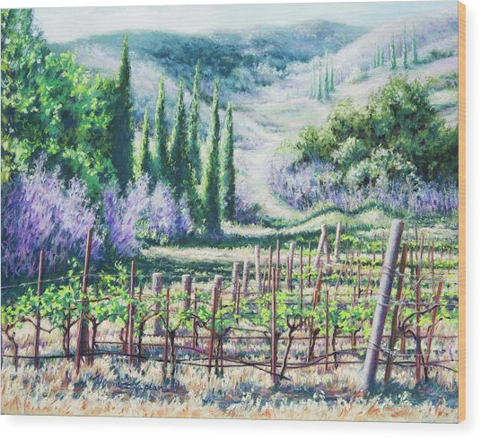 Mosby's Vines On Santa Rita Hills Wood Print
