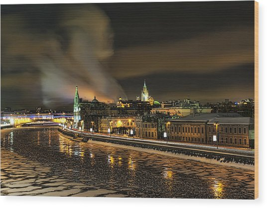 Moscow River Wood Print