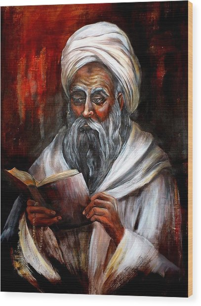 Moslem Man With Koran Wood Print