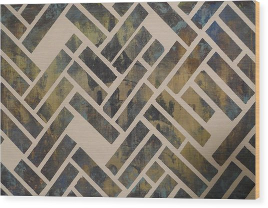 Mosque Herringbone Blue Wood Print by Salwa  Najm