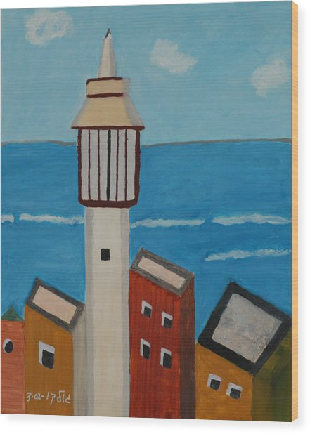 Mosque Seen From Jaffa Restaurant   Wood Print by Harris Gulko