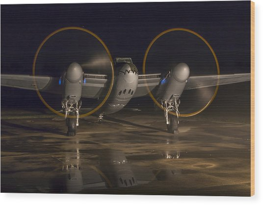 Mosquito Night Engine Run Wood Print