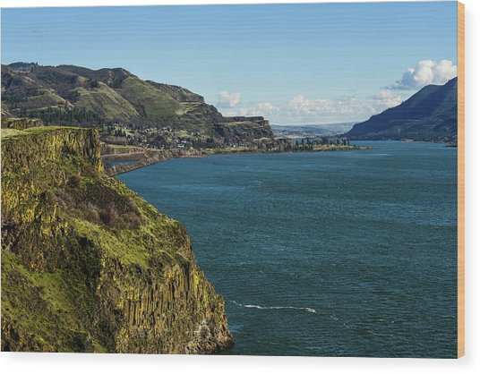 Mossy Cliffs On The Columbia Wood Print