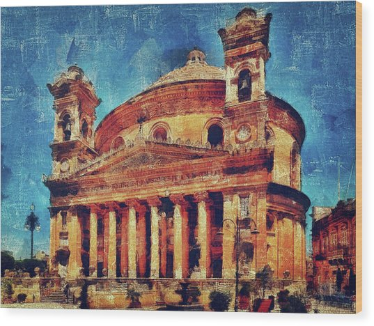 Mosta Church Wood Print