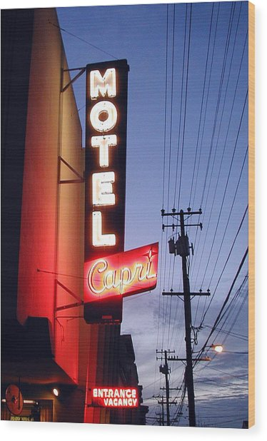 Motel Capri Wood Print by Mark Stevenson