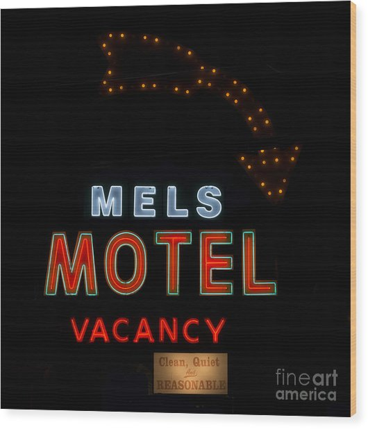 Motel Neon Sign Wood Print