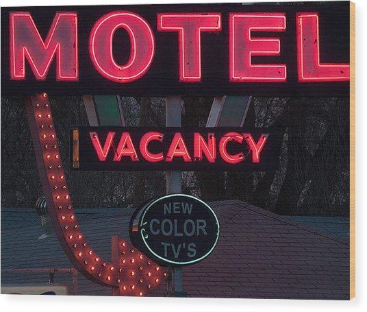 Motel-pink Wood Print