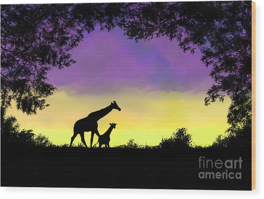 Mother And Baby Giraffe At Sunset Wood Print