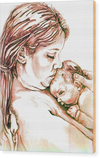 Mother And Child 1 Wood Print