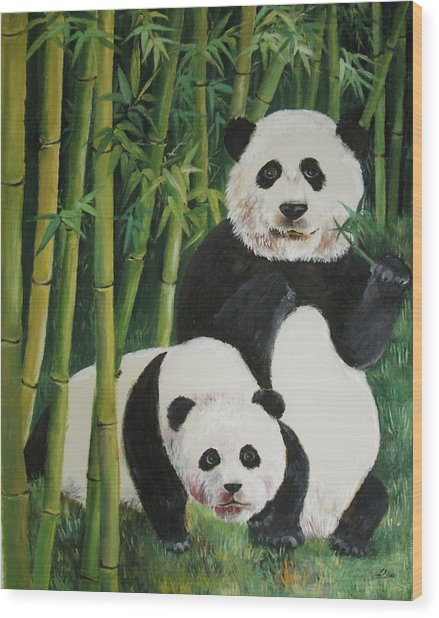 Mother And Child 2 Wood Print by Lian Zhen