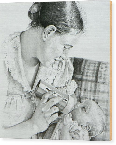 Mother And Child Wood Print by David Ackerson
