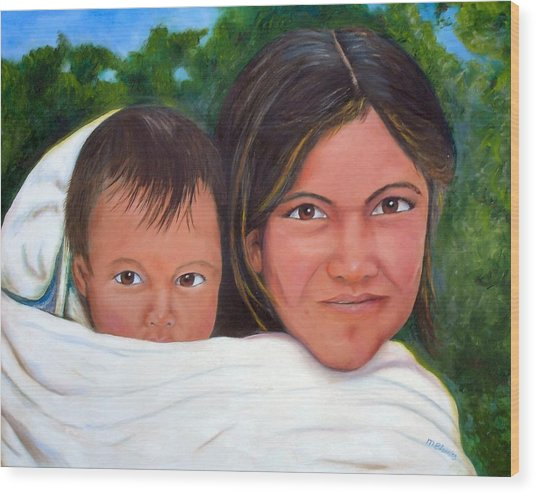 Mother And Child Wood Print by Merle Blair