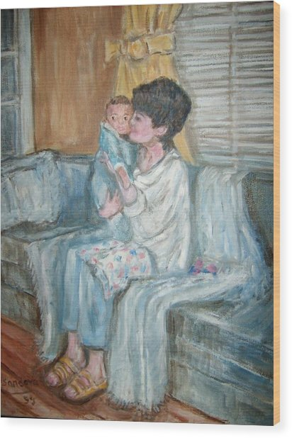 Mother And Child R Wood Print by Joseph Sandora Jr