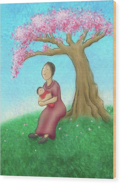 Mother And Child With Cherry Blossoms Wood Print