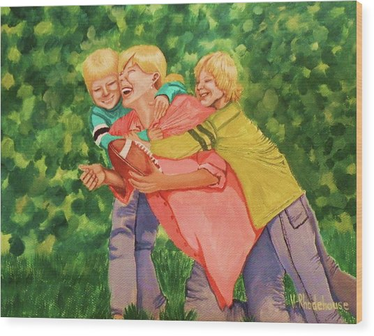 Mother And Sons Wood Print