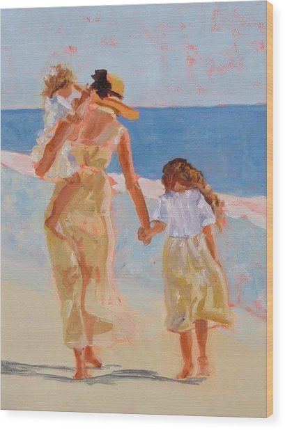 Mother And Two Daughters Wood Print by Molly Wright