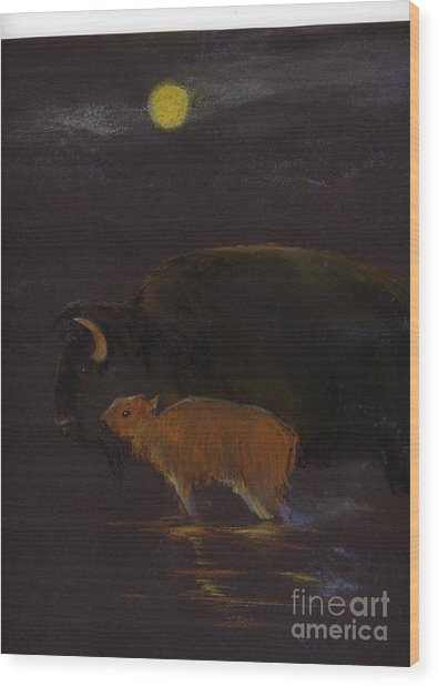 Mother Bison And Calf Wood Print by Mui-Joo Wee