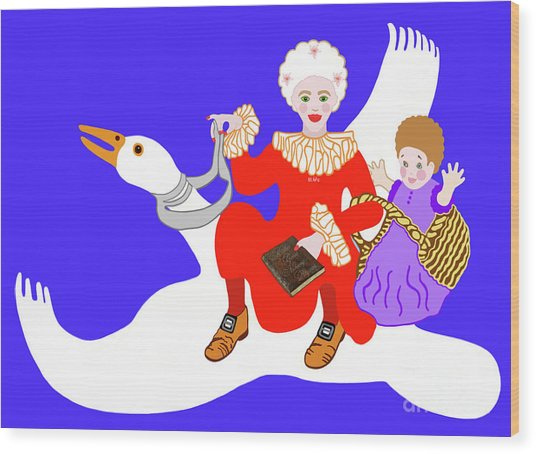 Mother Goose On Her Flying Goose Wood Print
