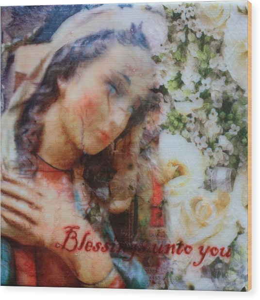 Mother Mary Blessing Wood Print