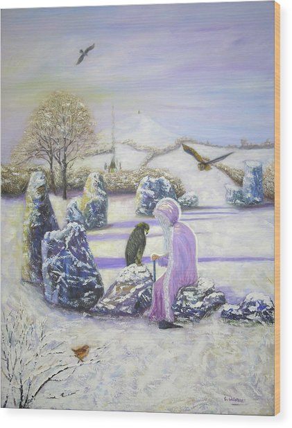 Mother Of Air Goddess Danu - Winter Solstice Wood Print